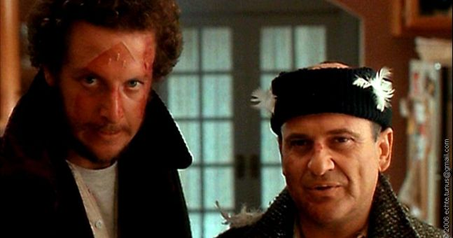 Carrying an elliptical machine down an icy hill turns you into Harry and Marv