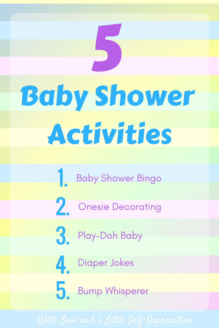 Easy baby shower activities including baby shower bingo, onesie decorating, play-doh baby, diaper jokes, and the bump whisperer. Free printable baby shower bingo!