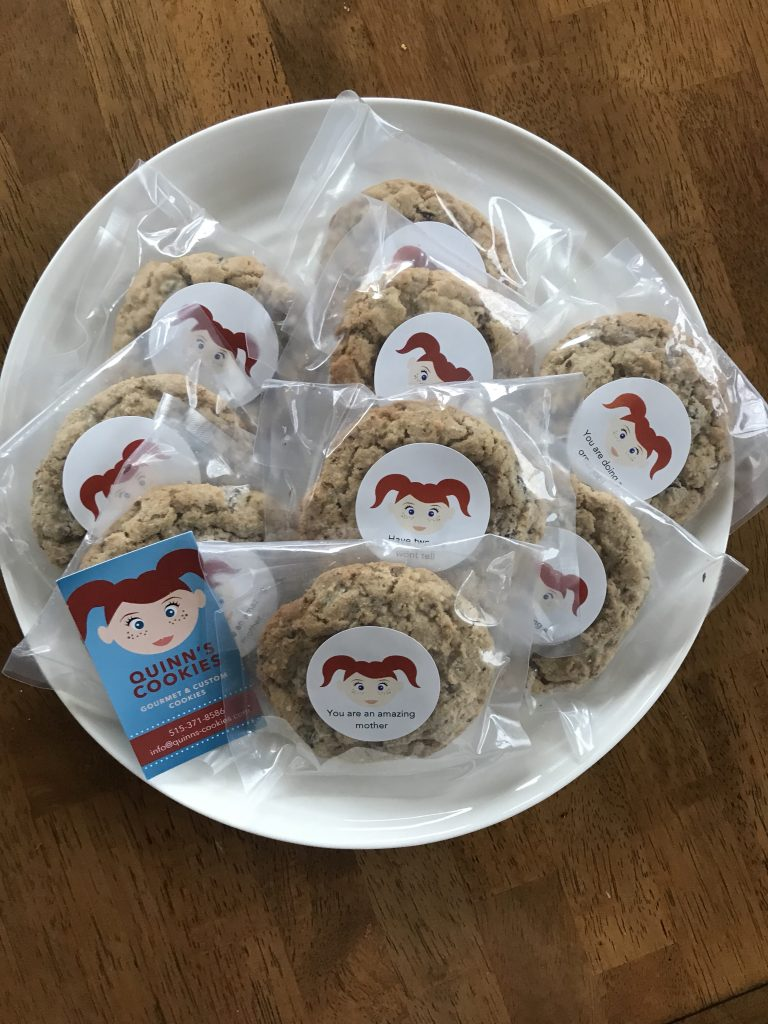 Quinn's Cookies - Lactation cookies on a white plate. Gift idea for moms returning to work after maternity leave.