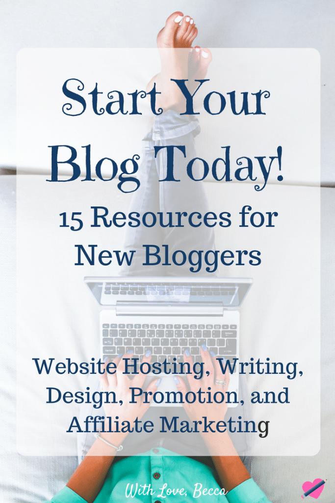 The best blogging resources for new bloggers. 15 blogging resources for writing, affiliate marketing, website hosting, design and promotion. #bloggingtips #makemoneyblogging