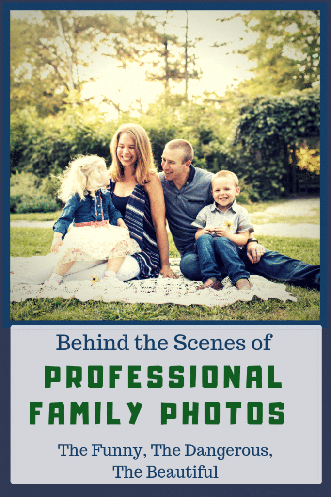 Behind the Scenes of Professional Family Photos: The Funny, The Dangerous & The Beautiful. Tips for how to pick your outfits, bribe your kids, and laugh your way to beautiful family pictures.
