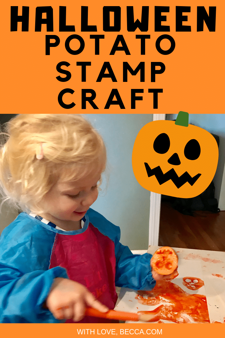 Halloween Potato Stamp Craft. Minimal materials, minimal steps, maximum cuteness! #HalloweenCraft