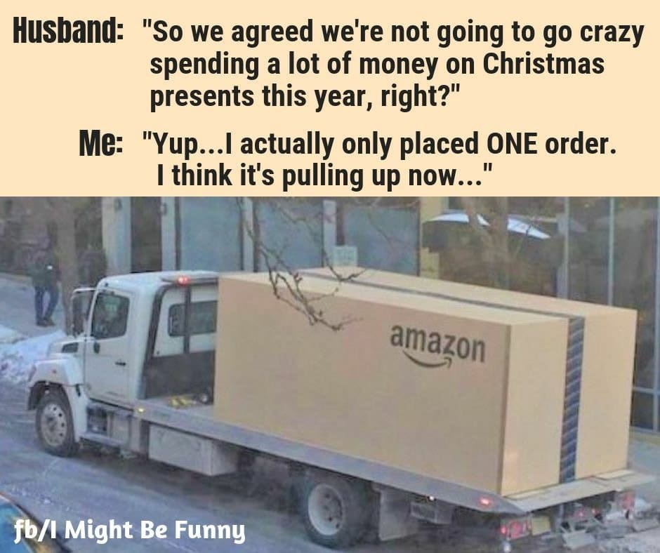 Flatbed truck with Amazon box meme