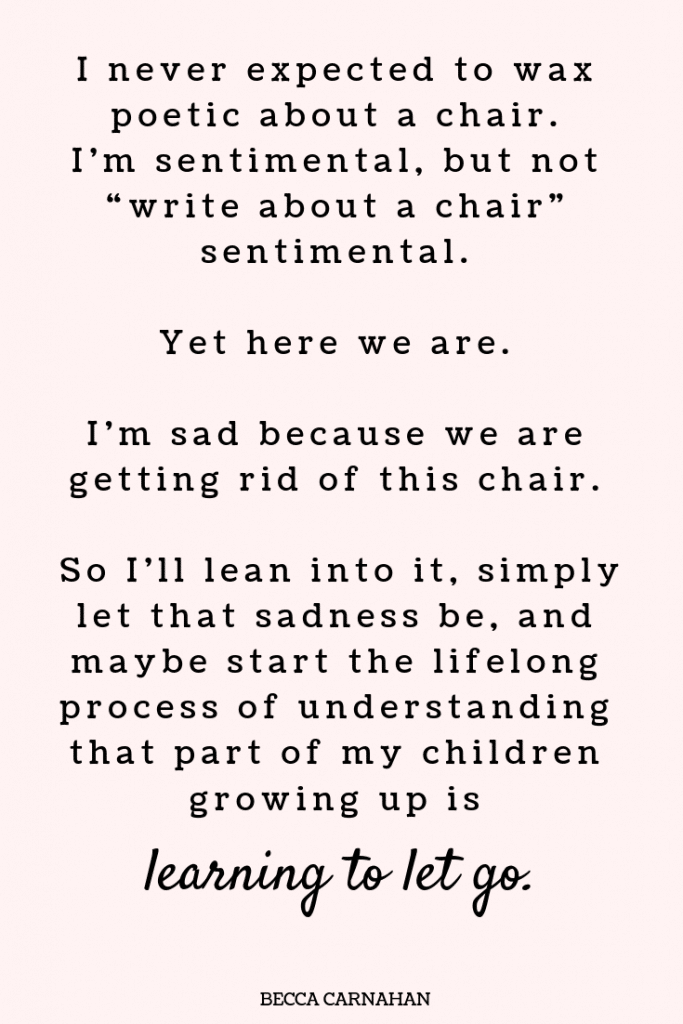 when it's more than a chair - learning to let go #motherhood #parenting