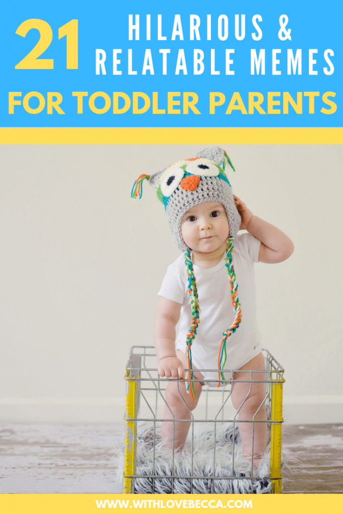 Funny toddler memes for toddler parents that will have you laughing out loud. Toddler in owl hat.