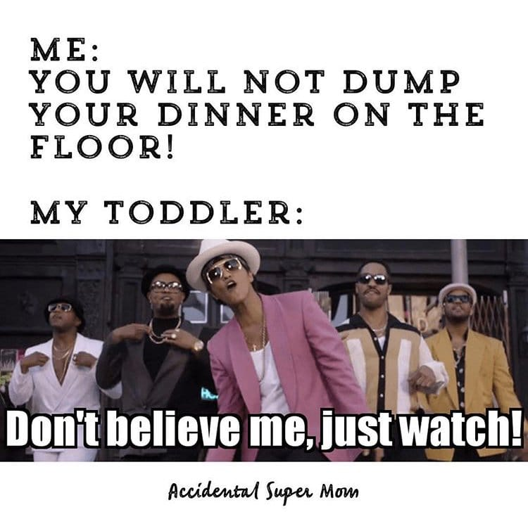 Bruno Mars toddler meme