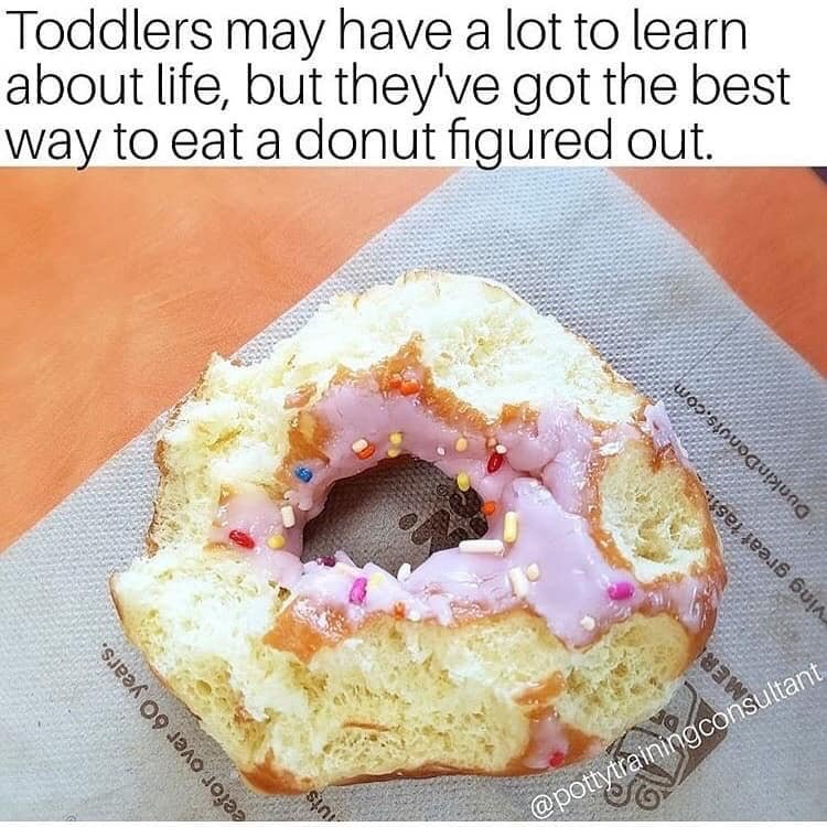Toddler donut meme. Frosting eaten off the top.