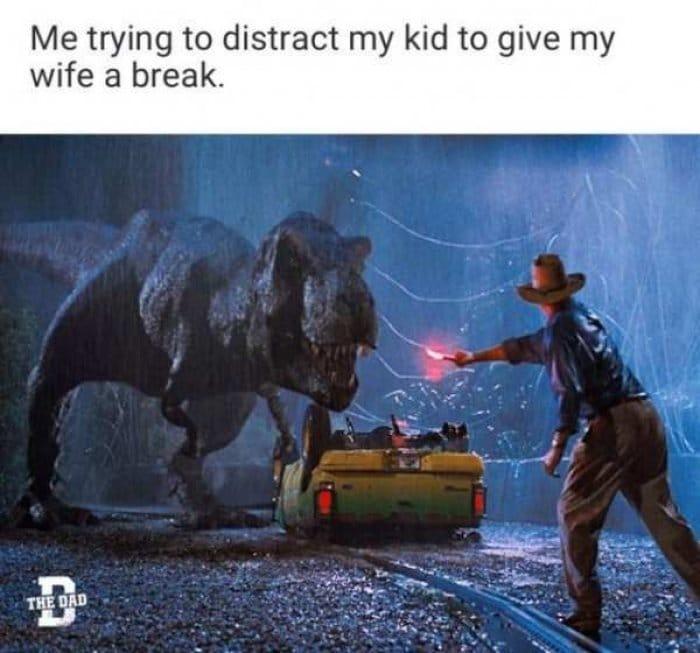 Jurassic Park Parenting Meme. Funny 90's kid memes.