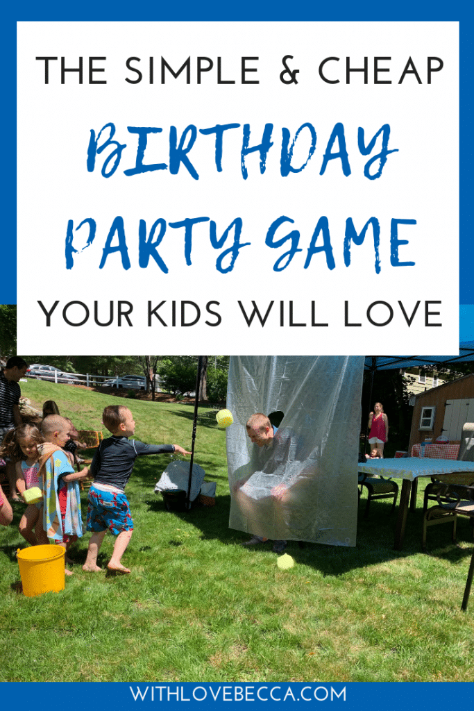 The simple and cheap birthday party game your kids will love! Kids throwing wet sponges at dad behind a shower curtain.