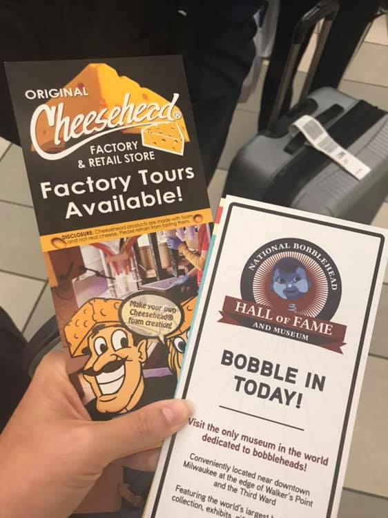 Brochures from the Milwaukee airport - Original Cheesehead Factory and National Bobblehead Hall of Fame and Museum. Great way to spend 48 hours in Wisconsin if you love to laugh!