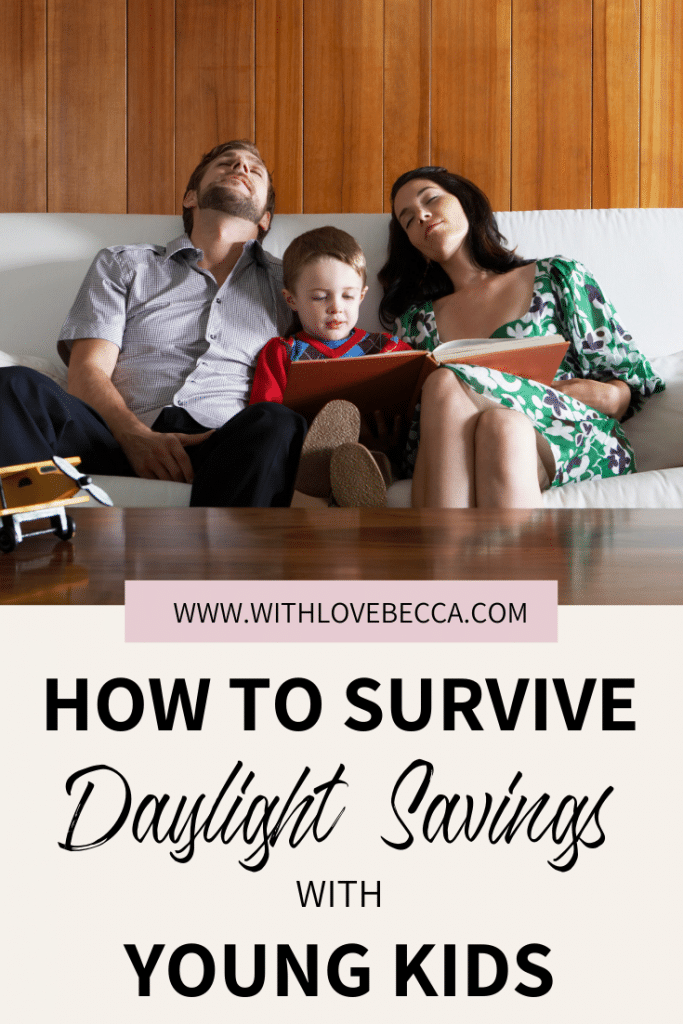 Two sleeping parents and a young boy. How to Survive Daylight Savings with Young Kids.