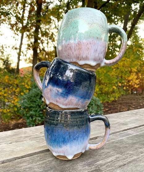 Three stacked mugs from Foster & Feed. Gift idea for moms returning to work after maternity leave