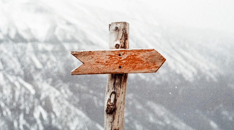 Arrow marked on mountain