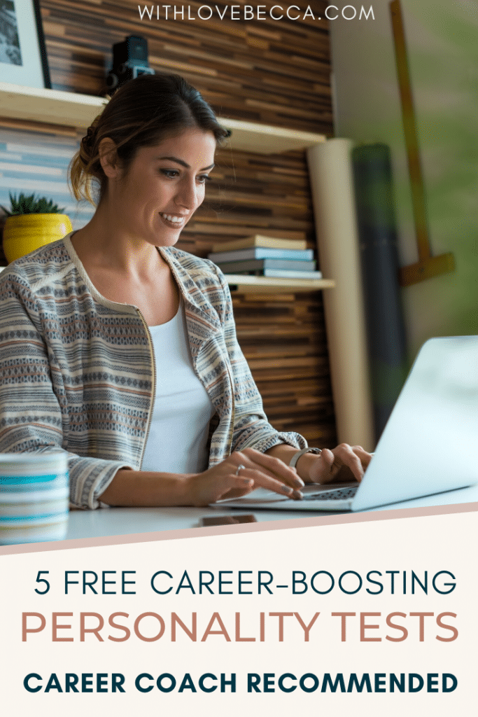5 free career-boosting personality tests. Career Coach recommended. Women typing at lap top.