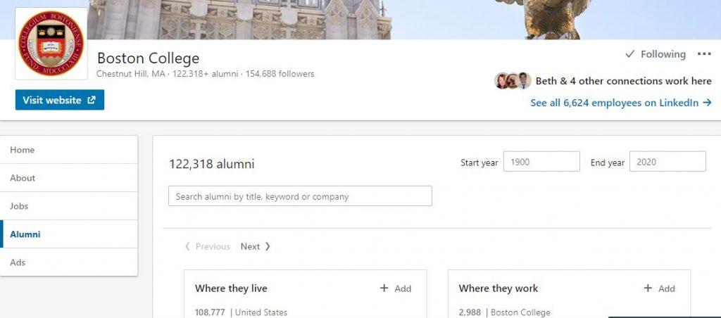 Finding alumni on LinkedIn