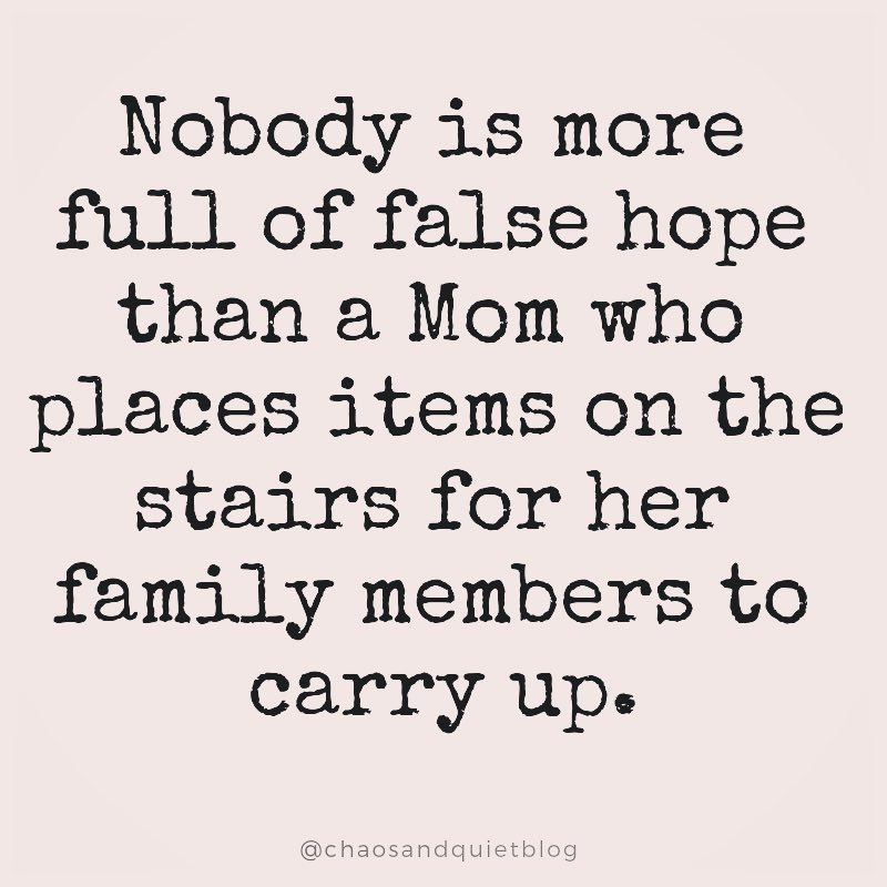 Nobody is more full of false hope than a Mom who places items on the stairs for her family members to carry up. @chaosandquietblog