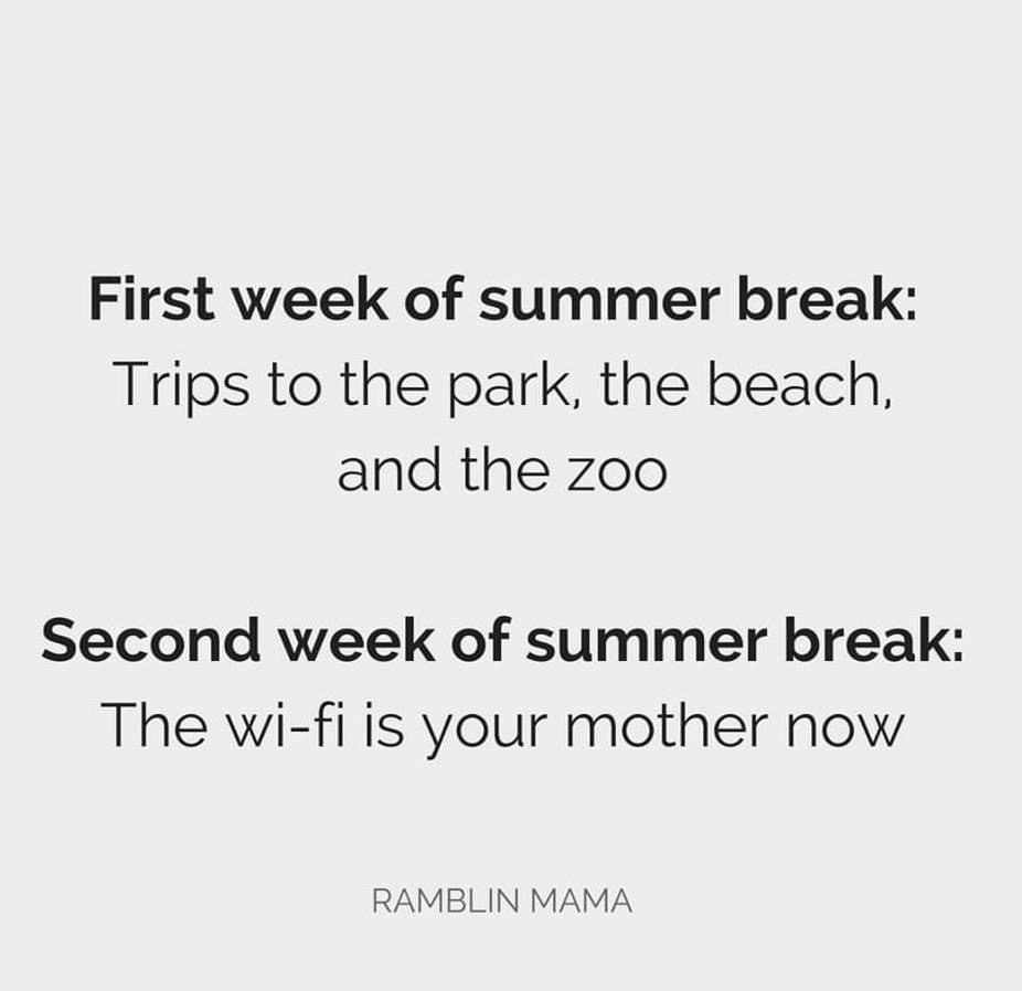 First week of summer break: Trips to the park, the beach, and the zoo. Second week of summer break: The wi-fi is your mother now.