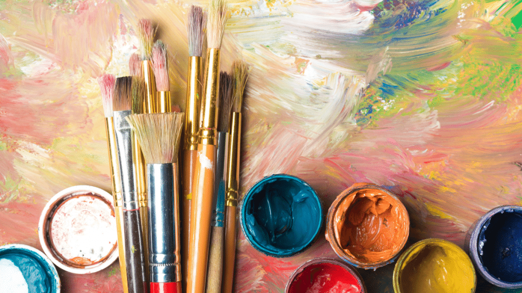 Paint brushes and paint