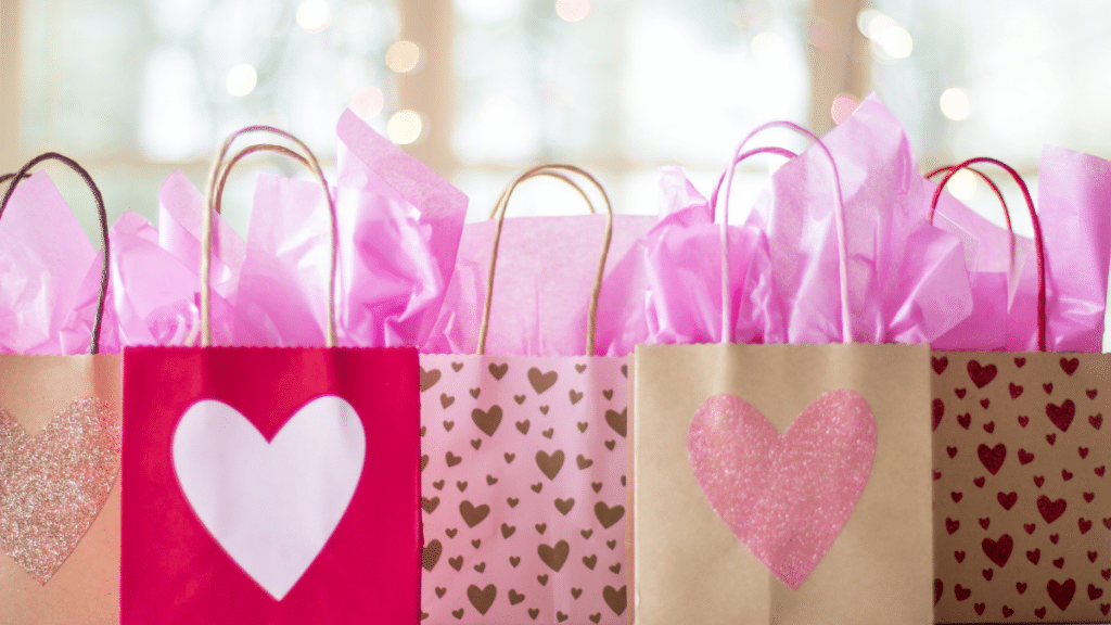 pink and brown gift bags
