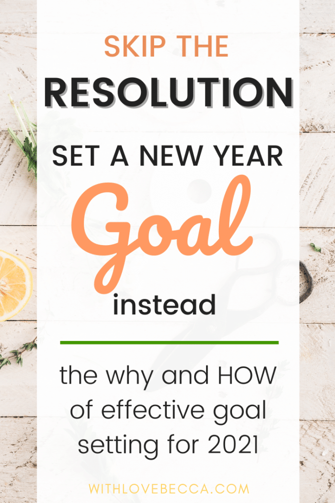 Skip the resolution, set a new year goal instead.