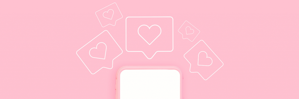 White phone with heart icons and pink background