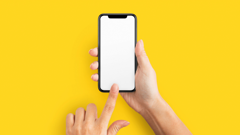 Yellow background with white phone
